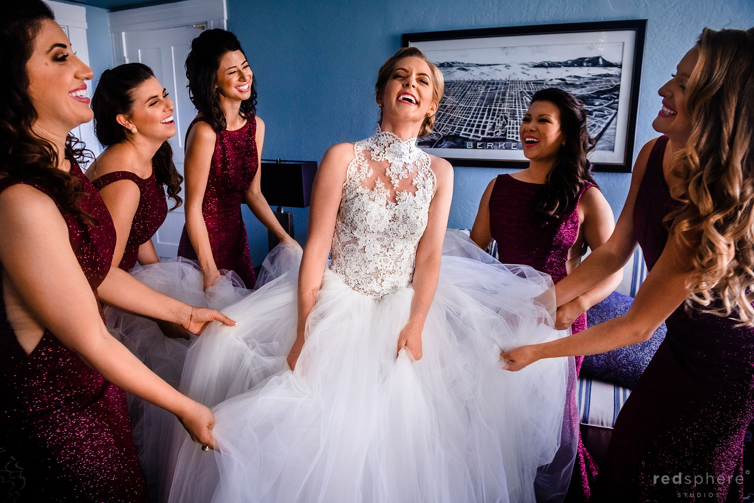 Wedding at the Claremont Hotel & Spa. Bride and Bridesmaids Getting Ready Photos