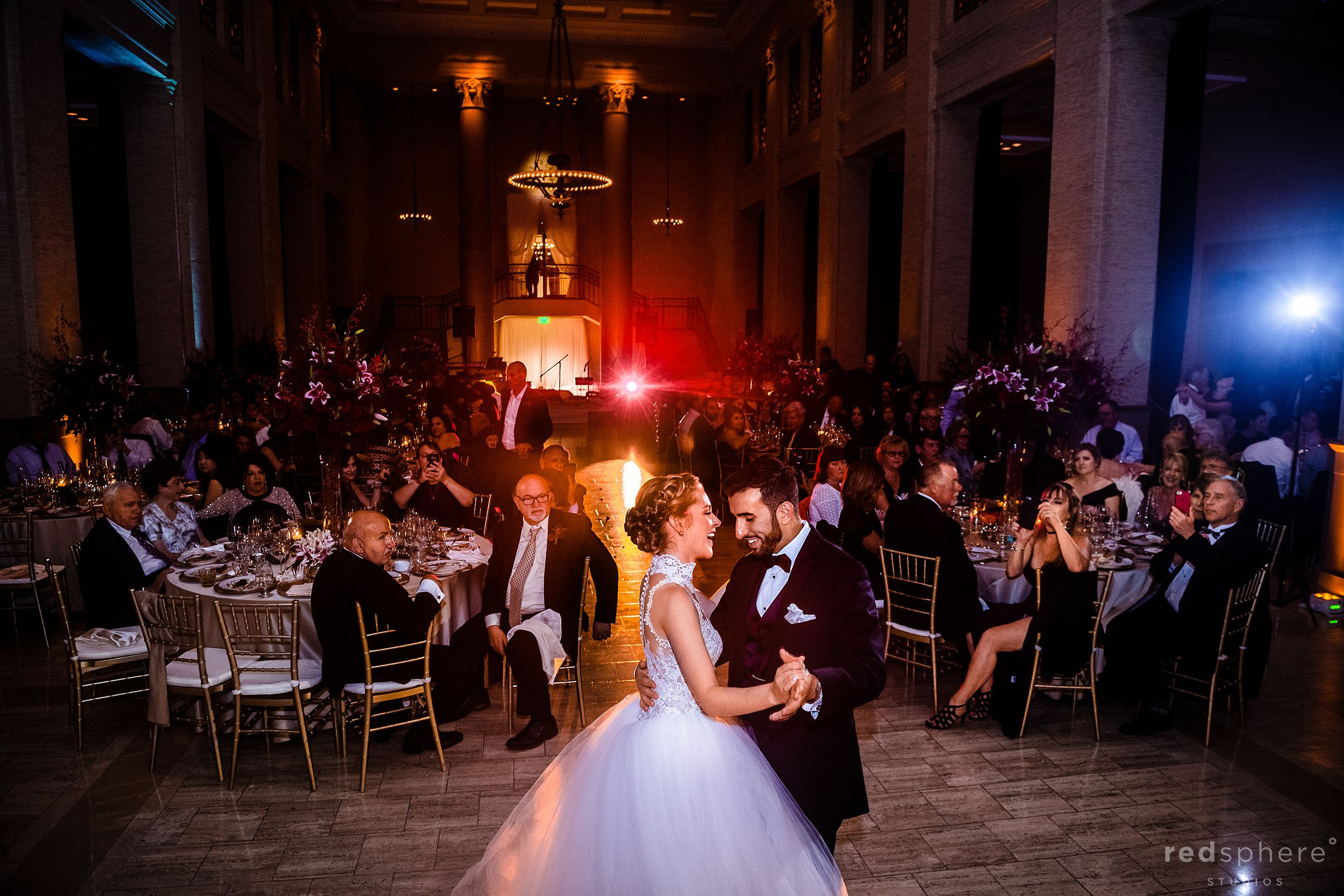 Bride and groom first dance at wedding in Bently Reserve