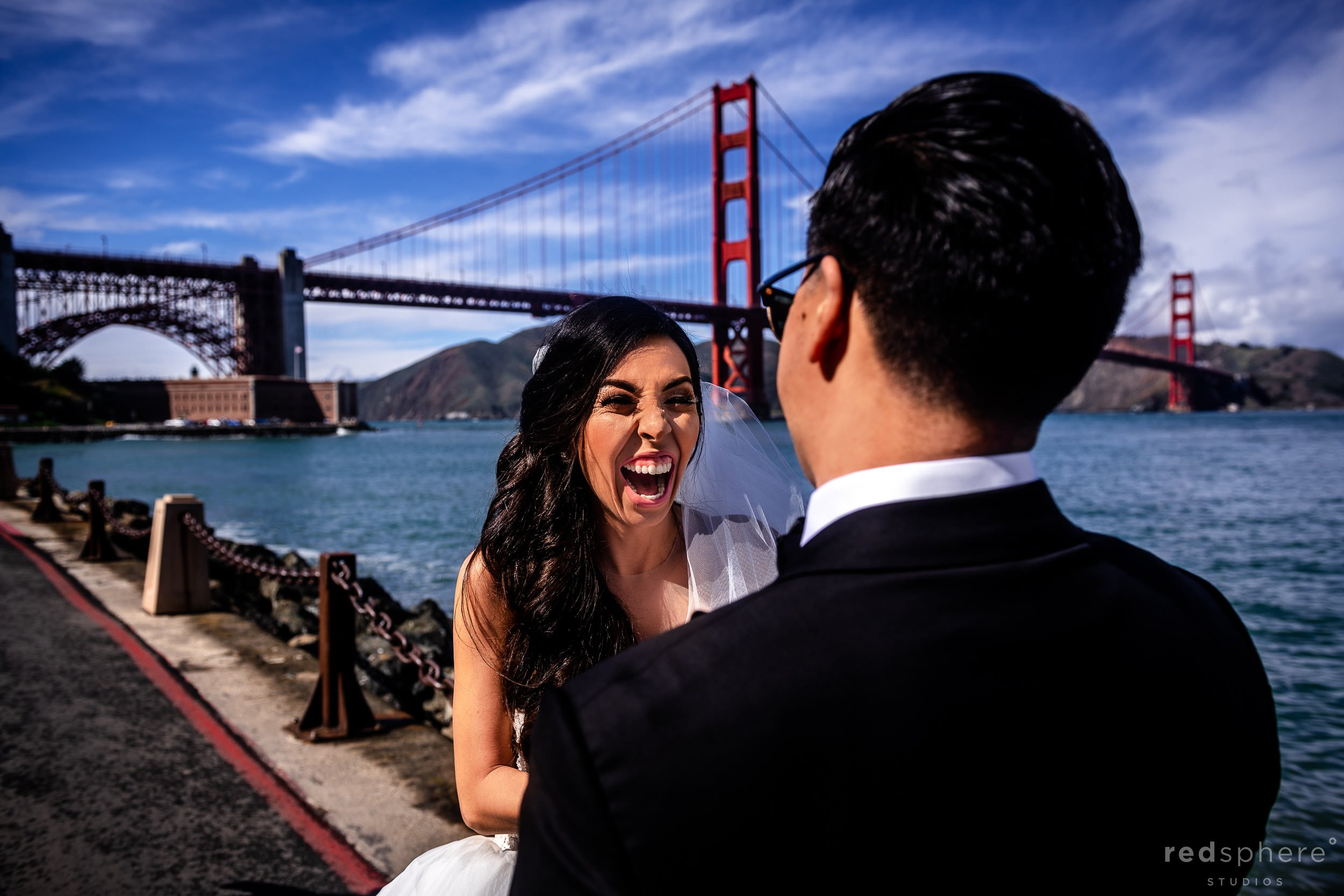 Fort Mason Golden Gate Bridge San Francisco Wedding - First Look