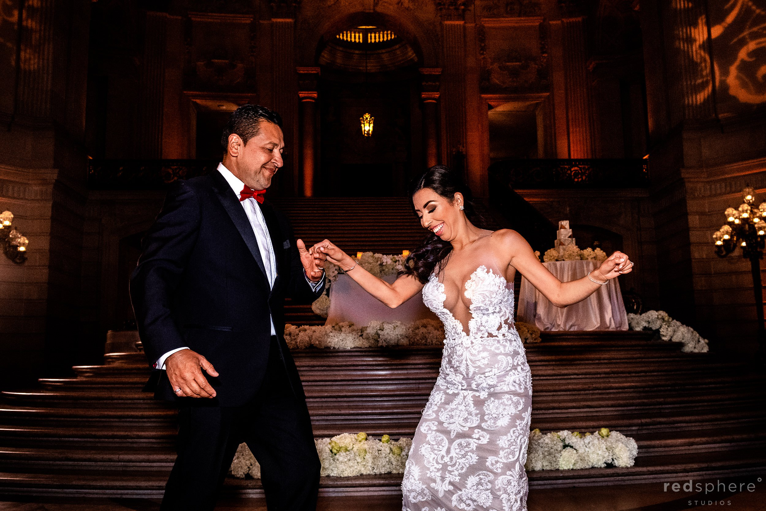 San Francisco City Hall wedding reception - Bride Dancing With Her Father