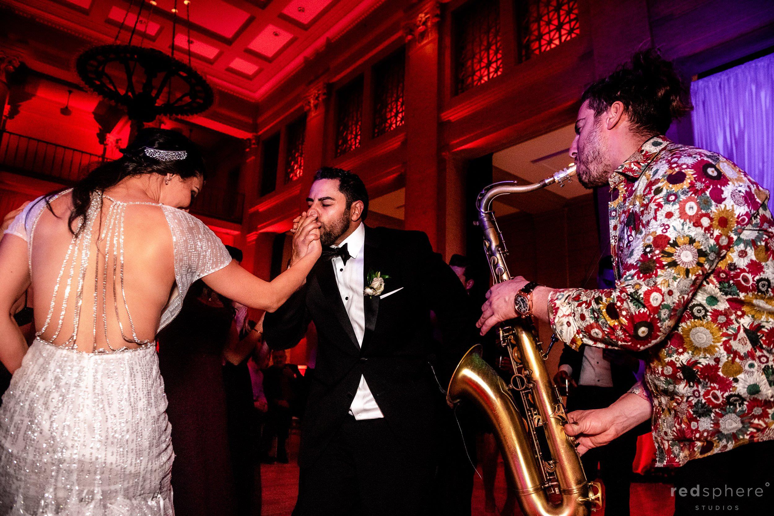 San Francisco Bently Reserve Wedding - Justin Ward saxophone player