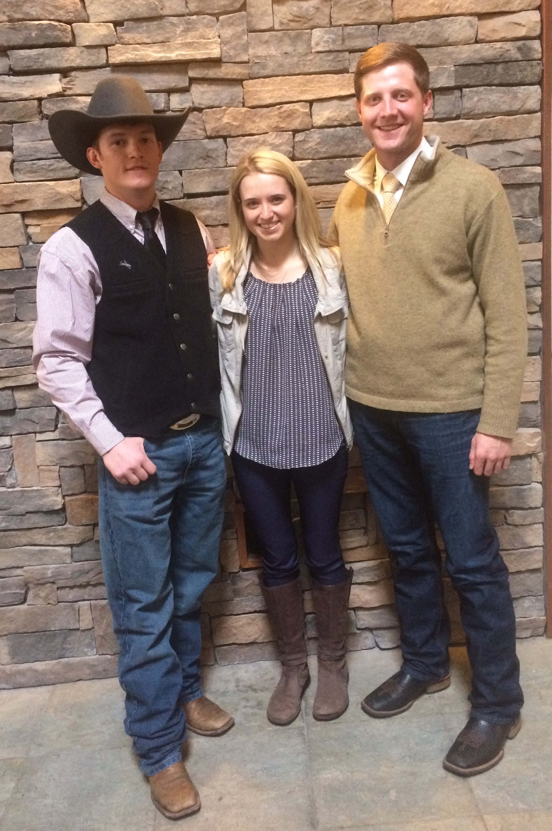 (L-R)  2018 John Paterson Scholarship Recipient  ~  Evan Haughian.    2018 Montana Feed Association Recipients  ~   Taylre Sitz and Brant Marsh.