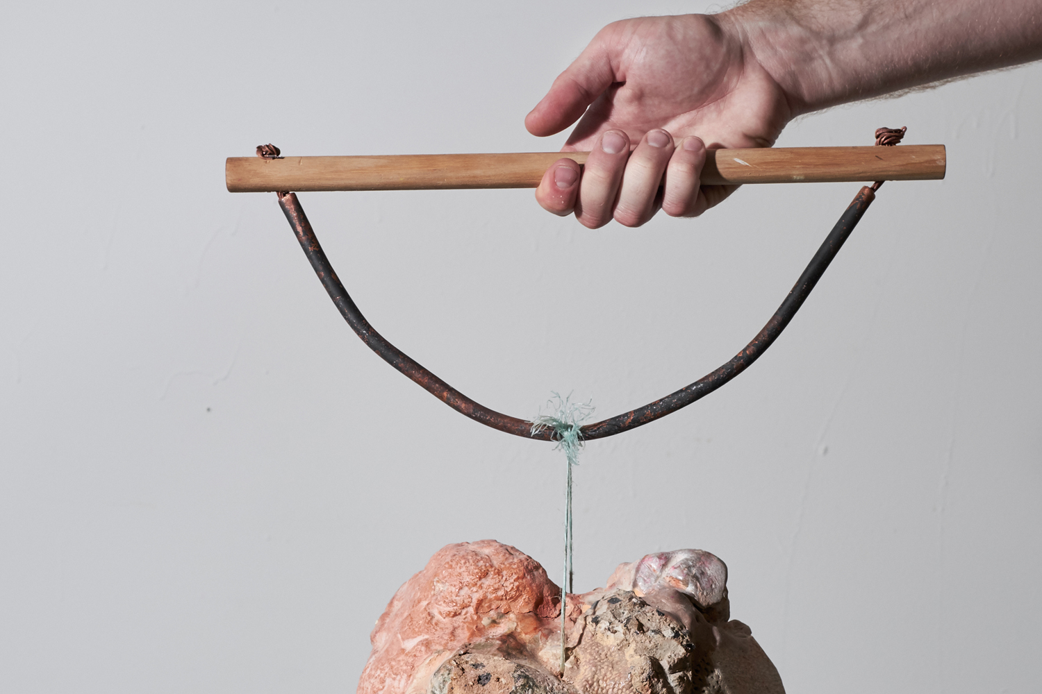 Ro Noonan,  Lift, but don't,  2016, wood, copper, plaster, rocks, Apoxie Sculpt, putty, acrylic, twine, clay, Dimensions Variable. Courtesy the artist. Image Credit: Tasha Tylee.