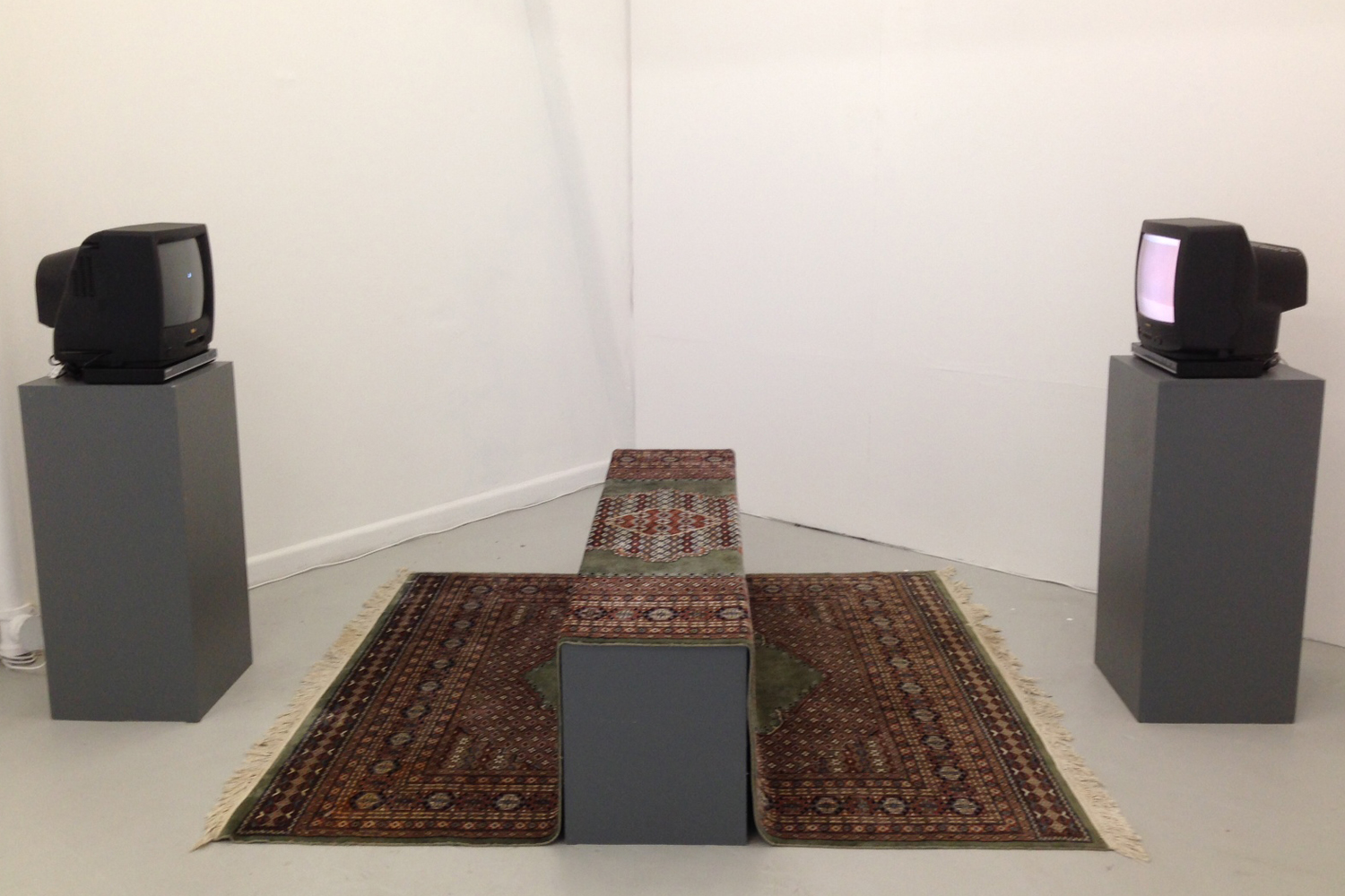Jacqueline Stojanovic My Colour TV, 2014, Two-channel video, monitors, Persian rug, Installation dimensions variable.