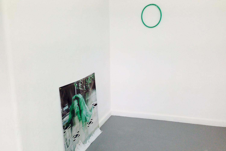 Bridie Gillman, Wall excerpts (Tokyo-Yogyakarta-Brisbane) 2015, printed banner, hose, tyre tube, blue gum.