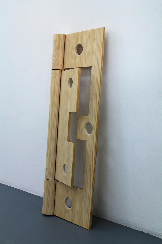 Chris Bond, Field, (Wooden Cypher, hinge), 2015, polyurethane, pine, 140 x 51 x 11 cm