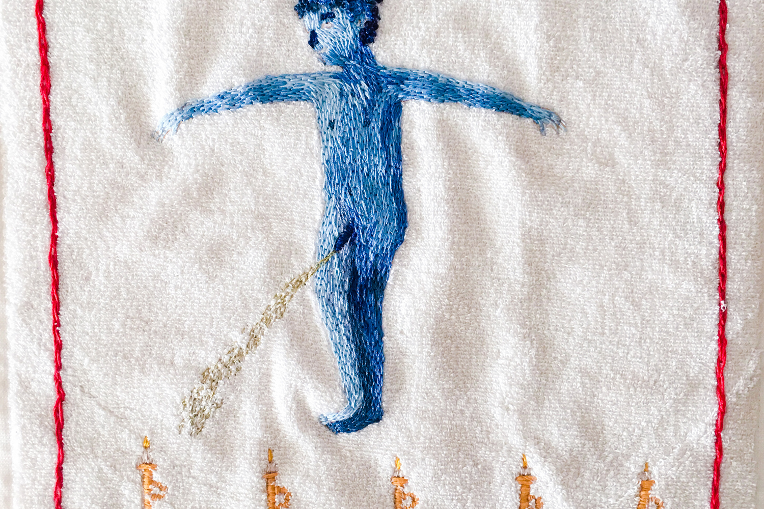 Aaron Billings,  Pissing , 2017, detail, cotton towel and hand-embroidered thread. Courtesy the artist.
