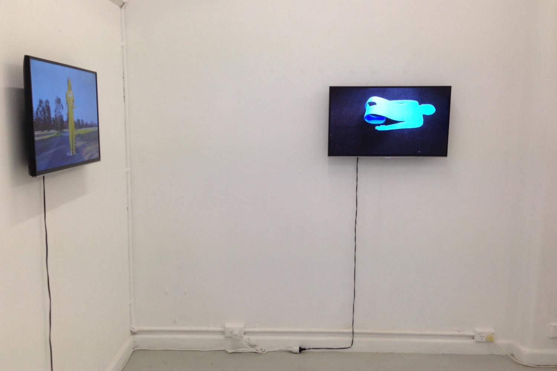 Kendal McQuire Flat Forms Flex, 2014, HD video, 3:50 minutes & Gold Run HD video, 0:47 minutes.