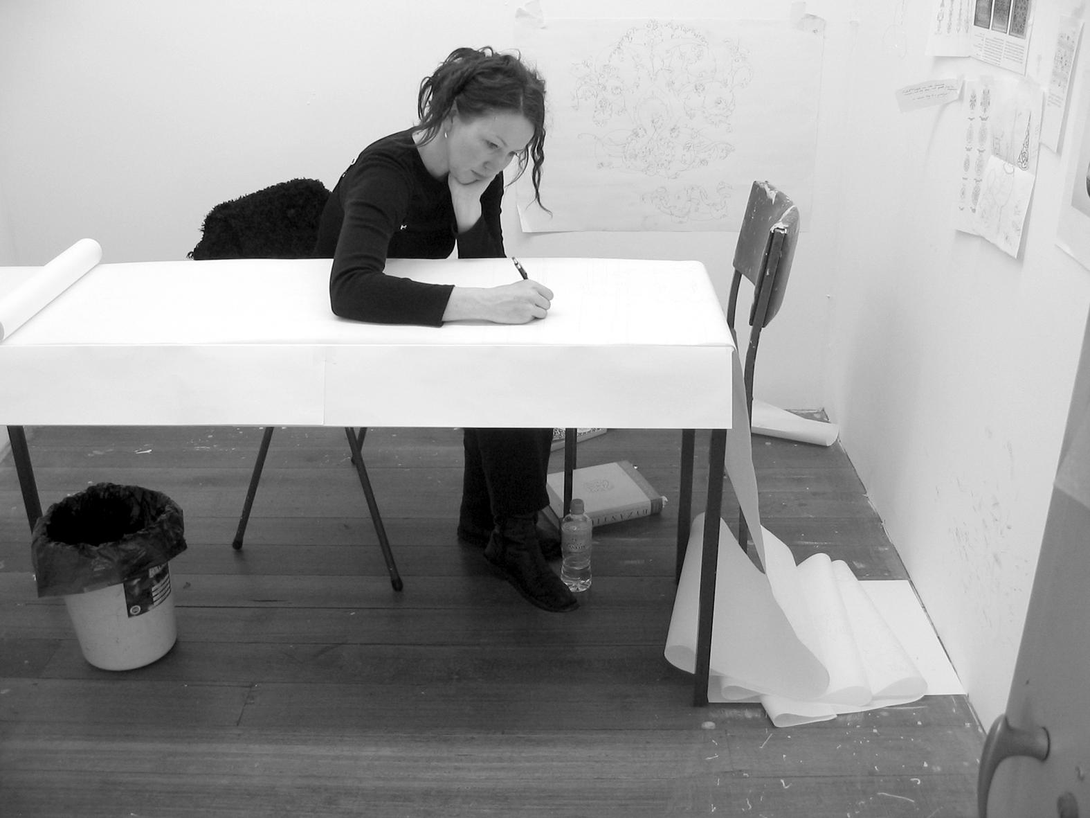 Hannah Bertram, 24 Hour Drawing Project 2005, pencil, shredded paper.jpg