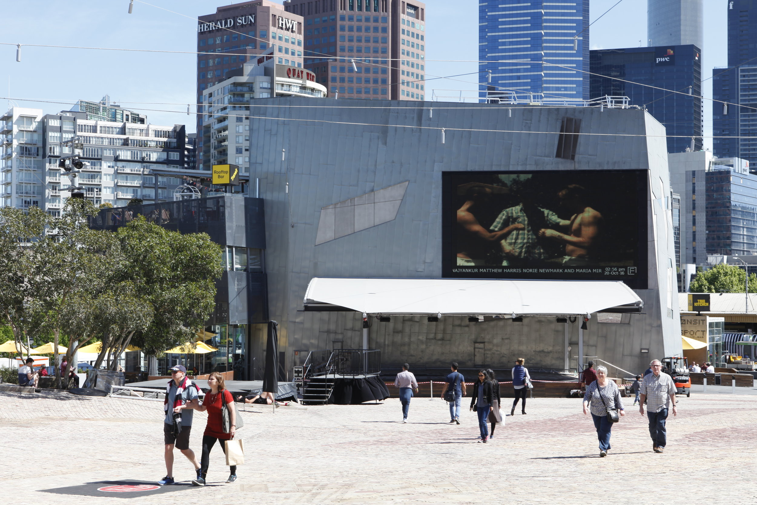 PLAY2, installation view at Federation Square, Melbourne, 2016. Nicholas Chilvers + Hanna Chetwin,  Boys II Men: Summer Daze,  2015