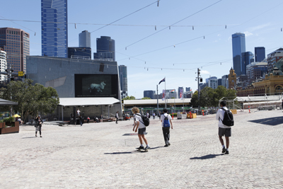 PLAY2, installation view at Federation Square, Melbourne, 2016. Matthew Harris,  Lassie , 2013