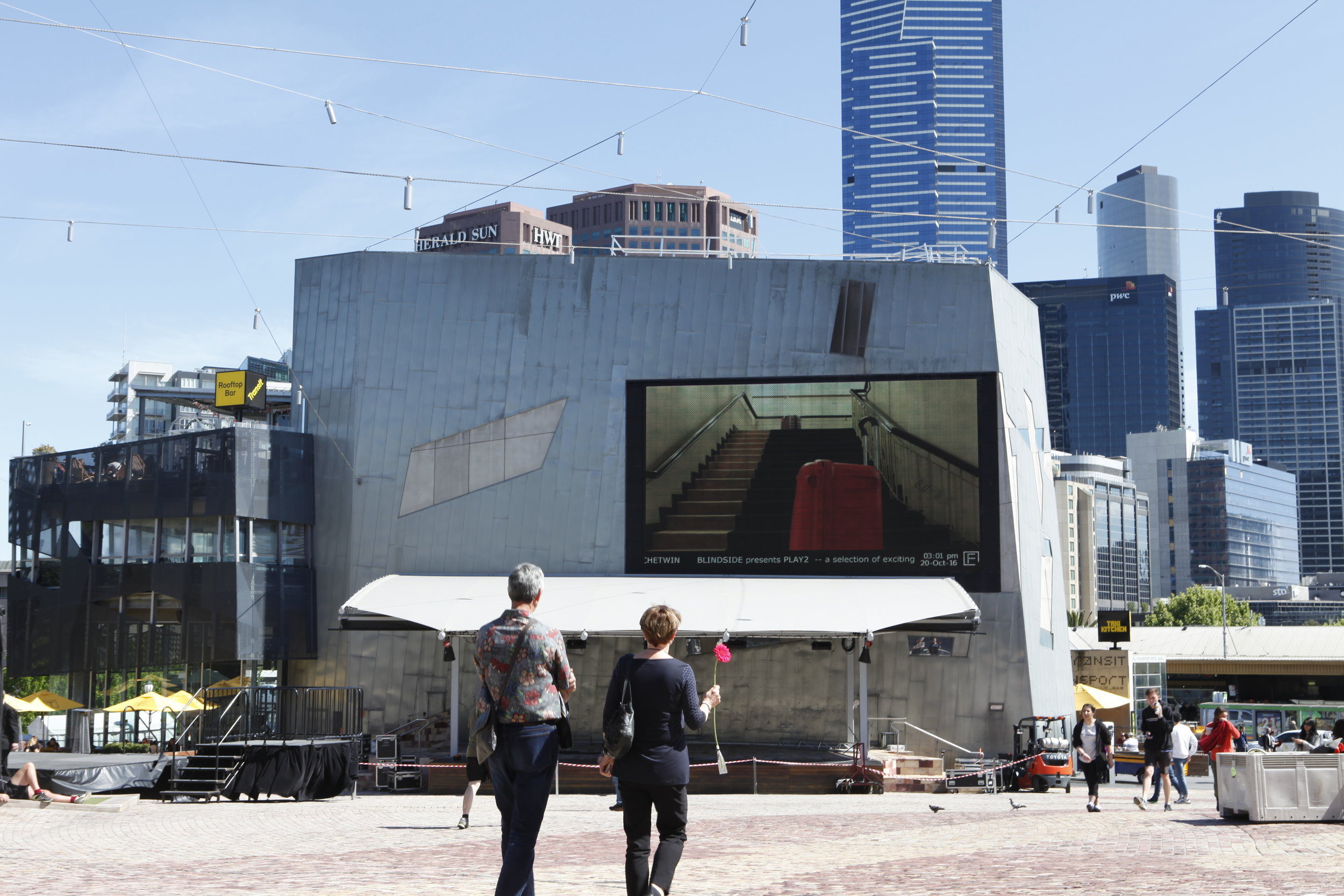 PLAY2, installation view at Federation Square, Melbourne, 2016. Tromarama,  The Charade , 2014.