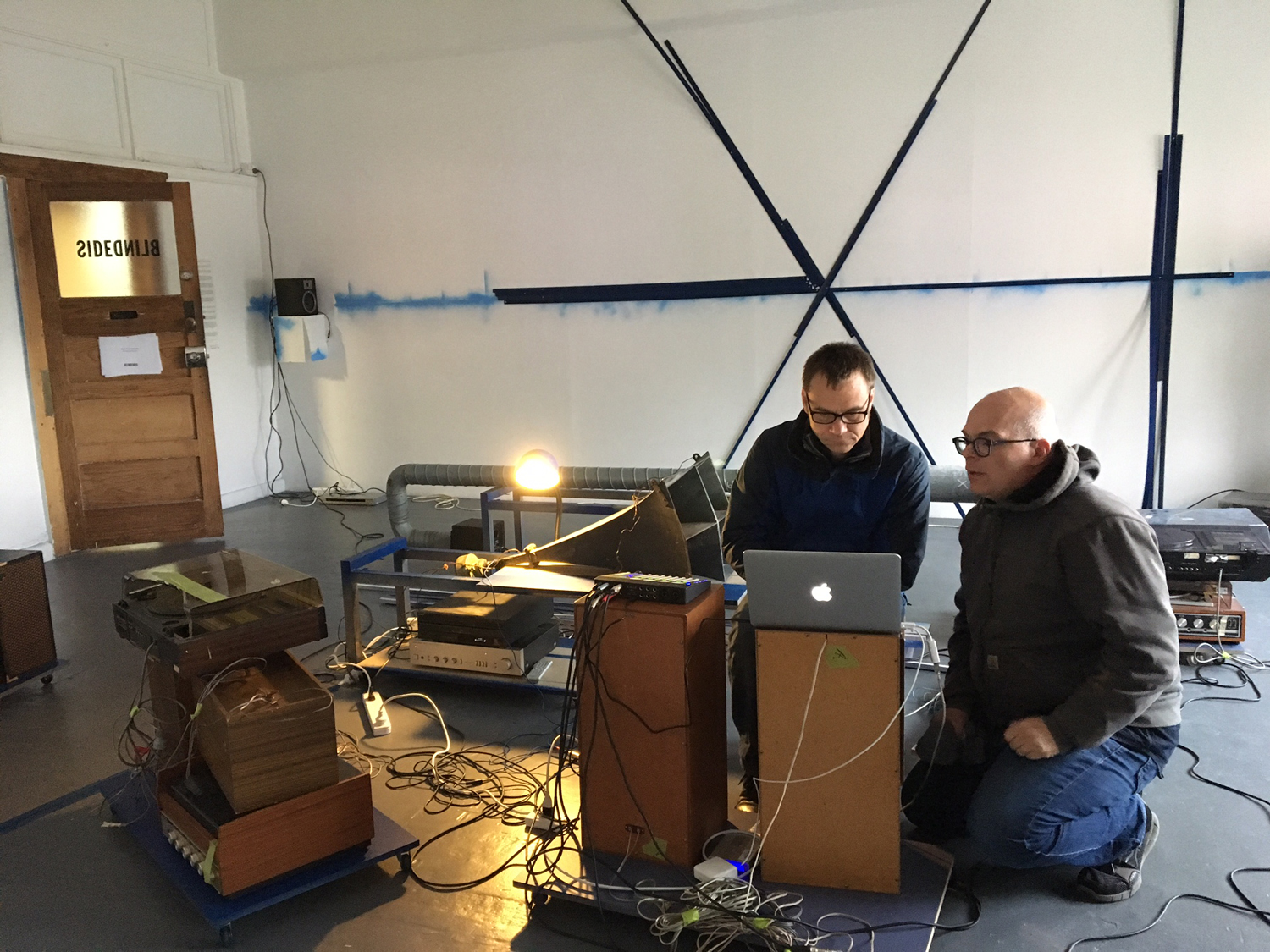 Mark Booth and Michael Graeve,  (18) … Insert TEXT HERE …: Thus one might add (but not that itself , 2017, mixed media installation, 7 channel sound, 73:00. BLINDSIDE 2017. Courtesy the artists.