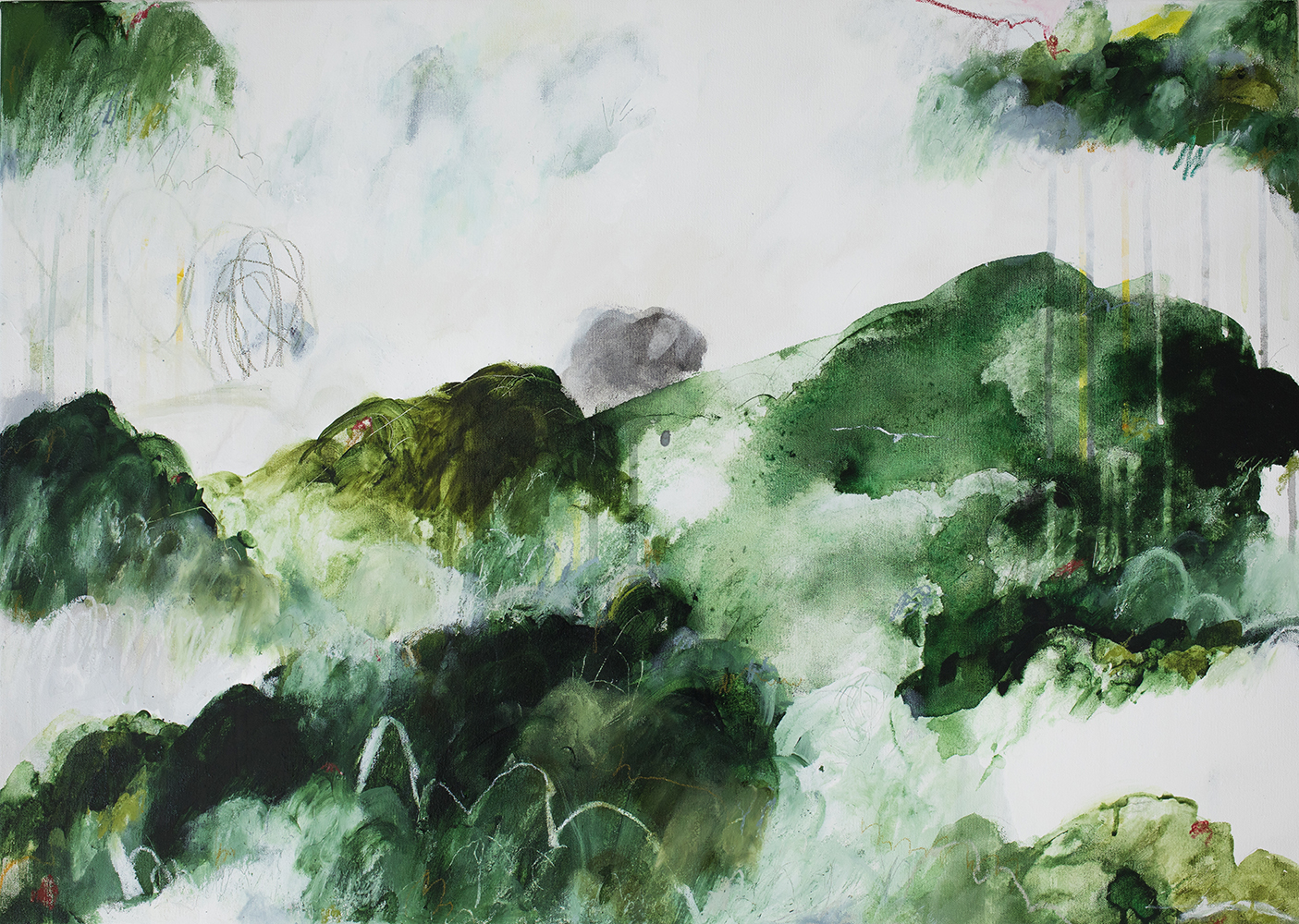 Inge Flinte, Rising Ground , 2018, acrylic, oil pastel, and pencil on canvas, 50 x 70cm | Courtesy of the artist.