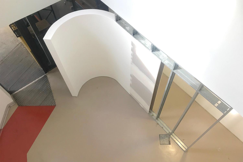 Andre Franco,  Momentary Slippage,  2018, steel framework, drywall, plaster, 300 x 410 x 17.8cm.