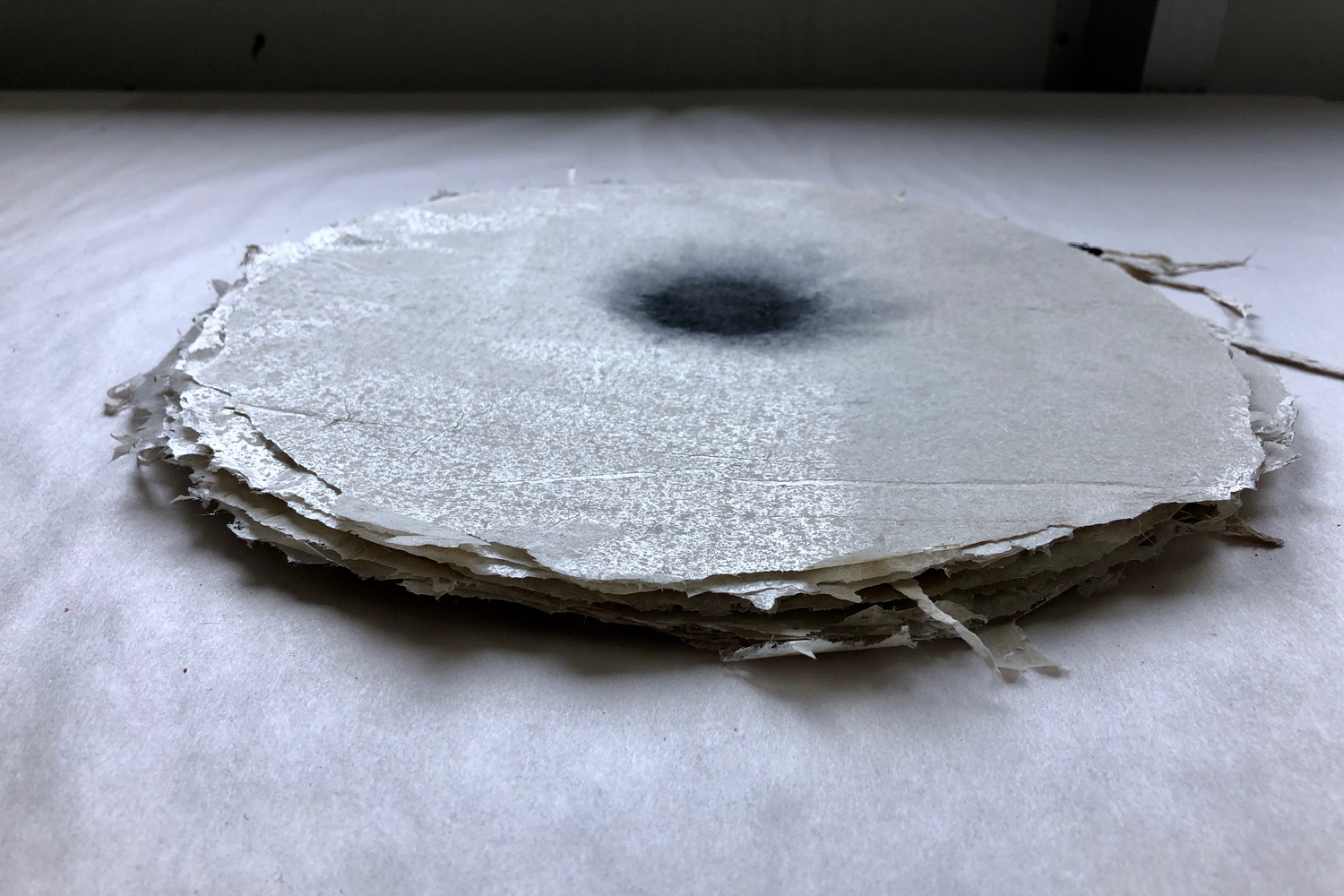 Jude Roberts,  Untitled , 2019, paper from kozo pulp, ink, natural sediments, 28cm dia. x 2cm. Courtesy the artist.