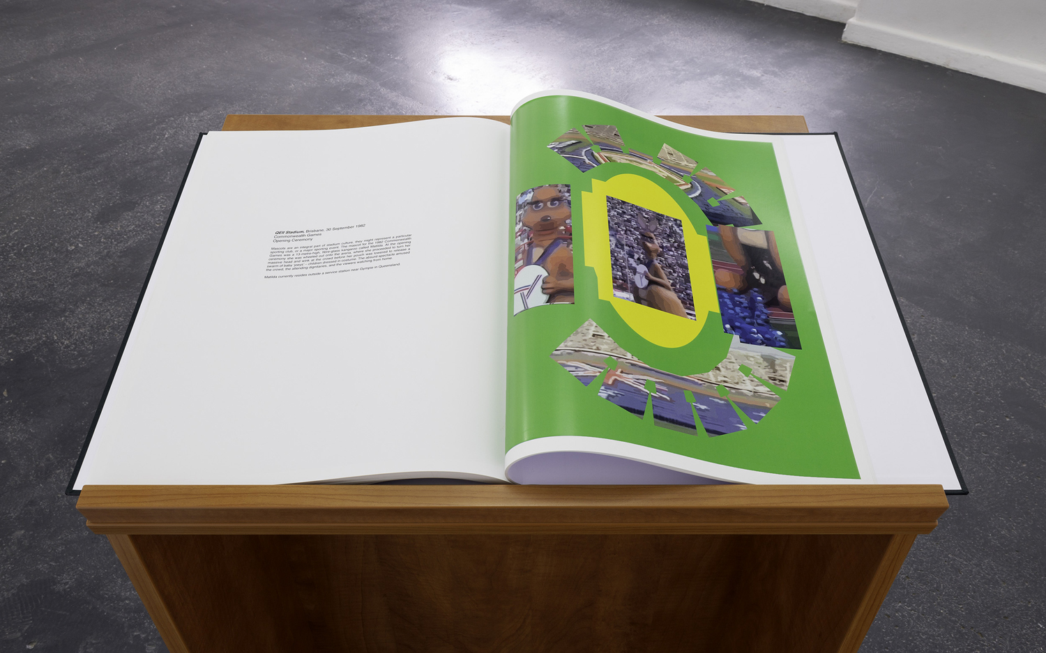 Paula Hunt,  In the stadium (2019)  2019, digital print book, installation view  The medium is public , BLINDSIDE 2019 | Courtesy of the artist. Photograph: Christian Capurro