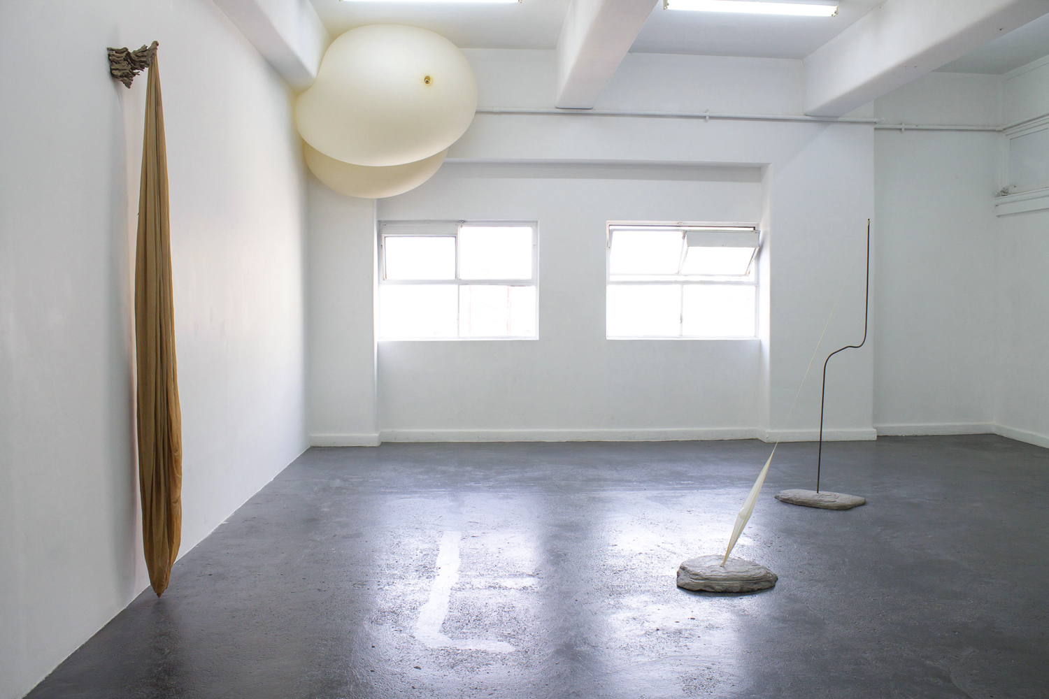 Torin Francis,  Objects in Motion , BLINDSIDE 2019, installation view, Concrete, steel and weather balloon, dimensions variable | Courtesy the artist.