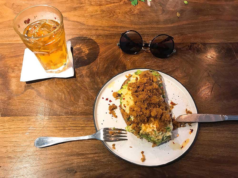 Avocado Toast w. Pork Floss and Scrambled Eggs + Iced House Keemun Tea With Iranian Rose
