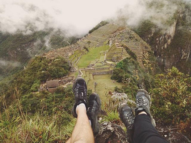 Our quiet place enjoying the view over Machu Picchu.  An absolutely unforgettable view after trekking over four days through the picturesque scenery, wet jungle passes, challenging altitude and long days, such an incredible reward seeing the thick fog lift 😉 If you ever get the chance to trek along the Inca Trail... DO!  It has to be one of the most challenging but rewarding experiences that we've undertaken! • • • #thetravelheads #incatrail #incatrek #inca #incaruins #machupicchu #peru #trekking #trek #challenge #adventure #explore #travel #livelife #pushyourself #wanderlust #rewarding • • • Photo Credit • @thetravelheads