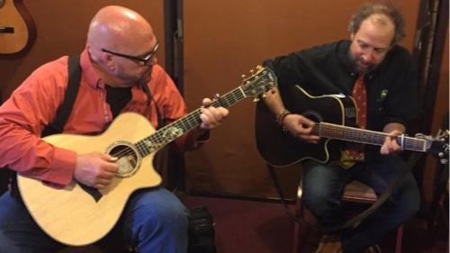 Darryl Purpose and Paul Zollo warm up backstage at McCabes, Santa Monica, Ca. May. 2016