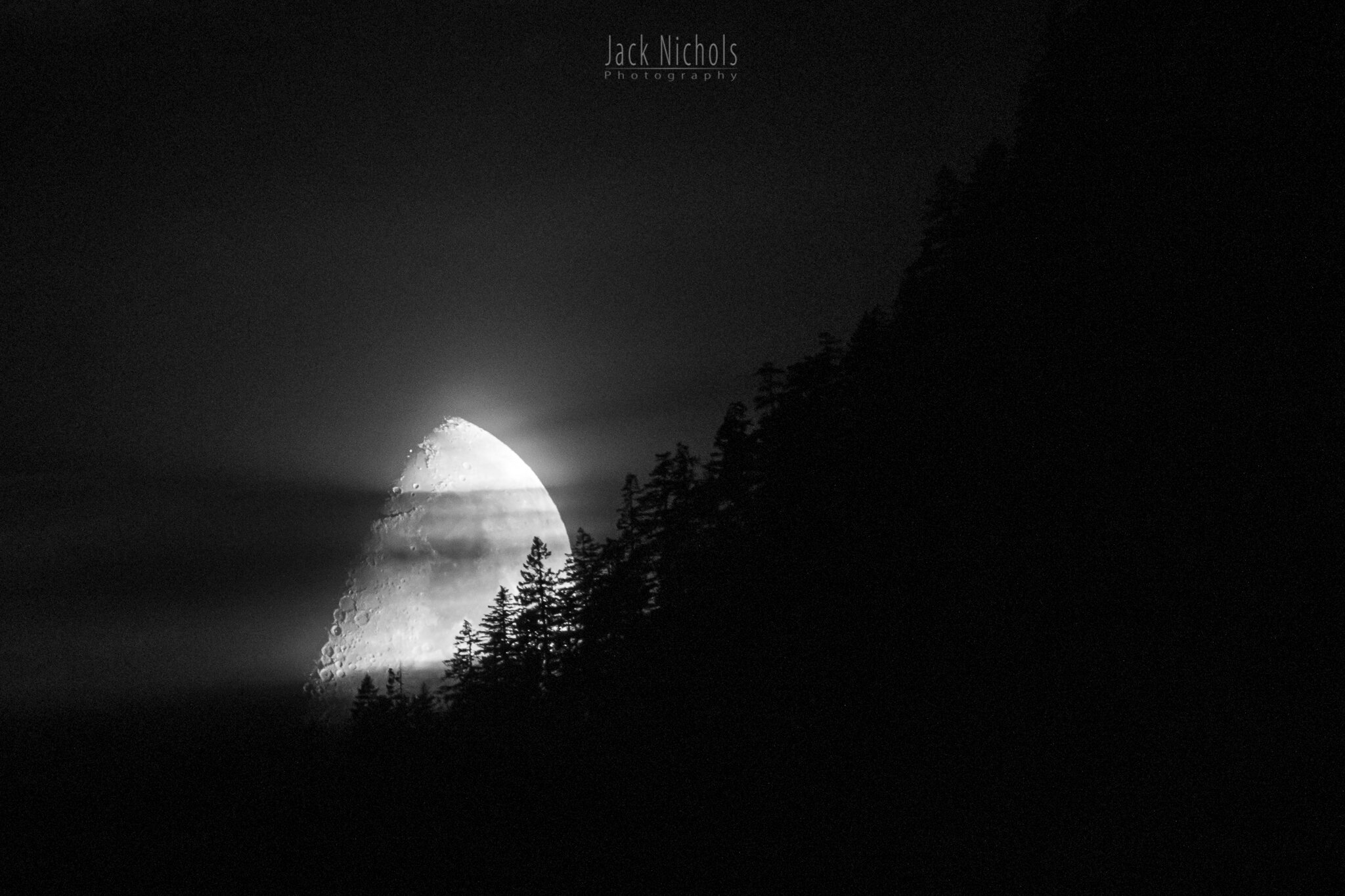 Campbell River, Buttle Lake - Moon setting over distant mountain with trees in silhouette-20190907.jpg
