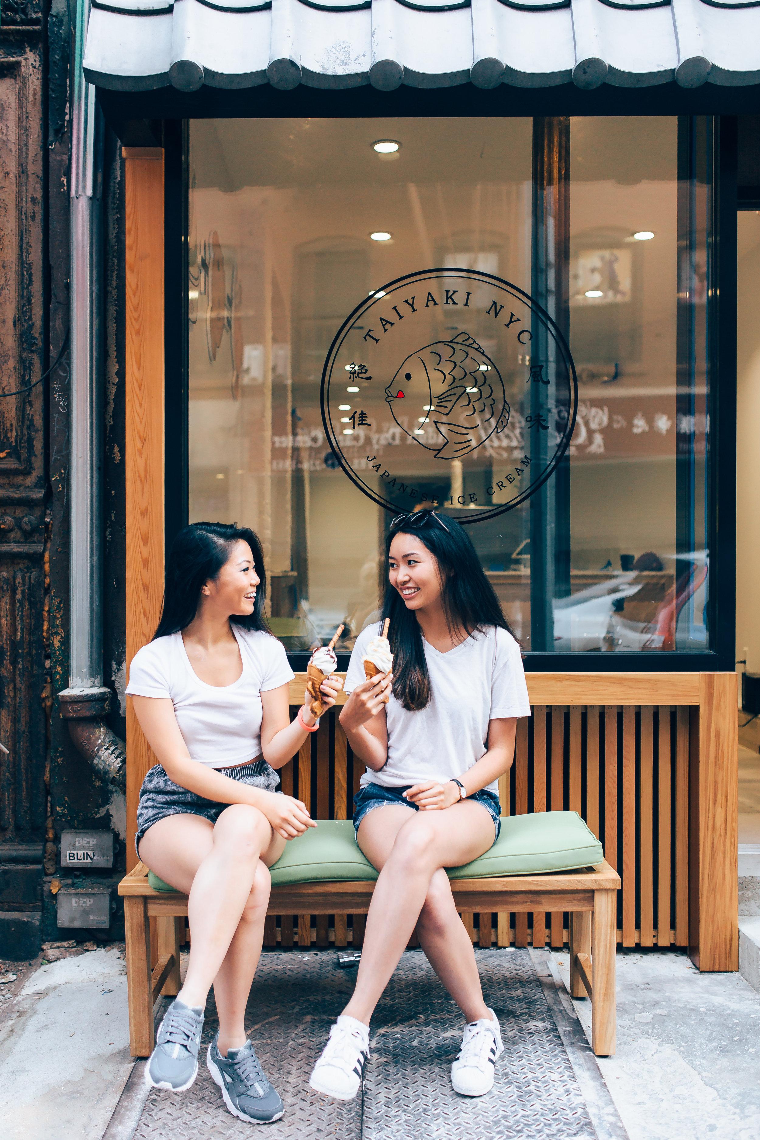 Elena (left) and Karen (right) enjoying some Taiyaki Ice Cream pre-opening.