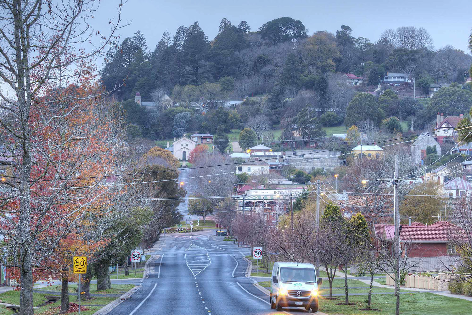 A crisp morning on Albert Street in Daylesford, Victoria