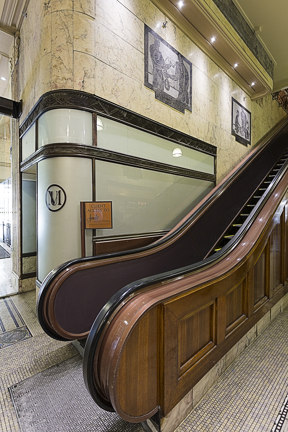 The escalator on the ground floor of the Manchester Unity building
