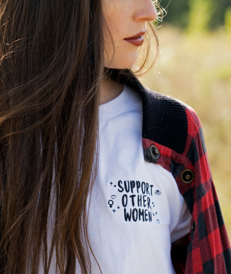 """Support Other Women"" Embroidered Tee by Call Her Moonchild"