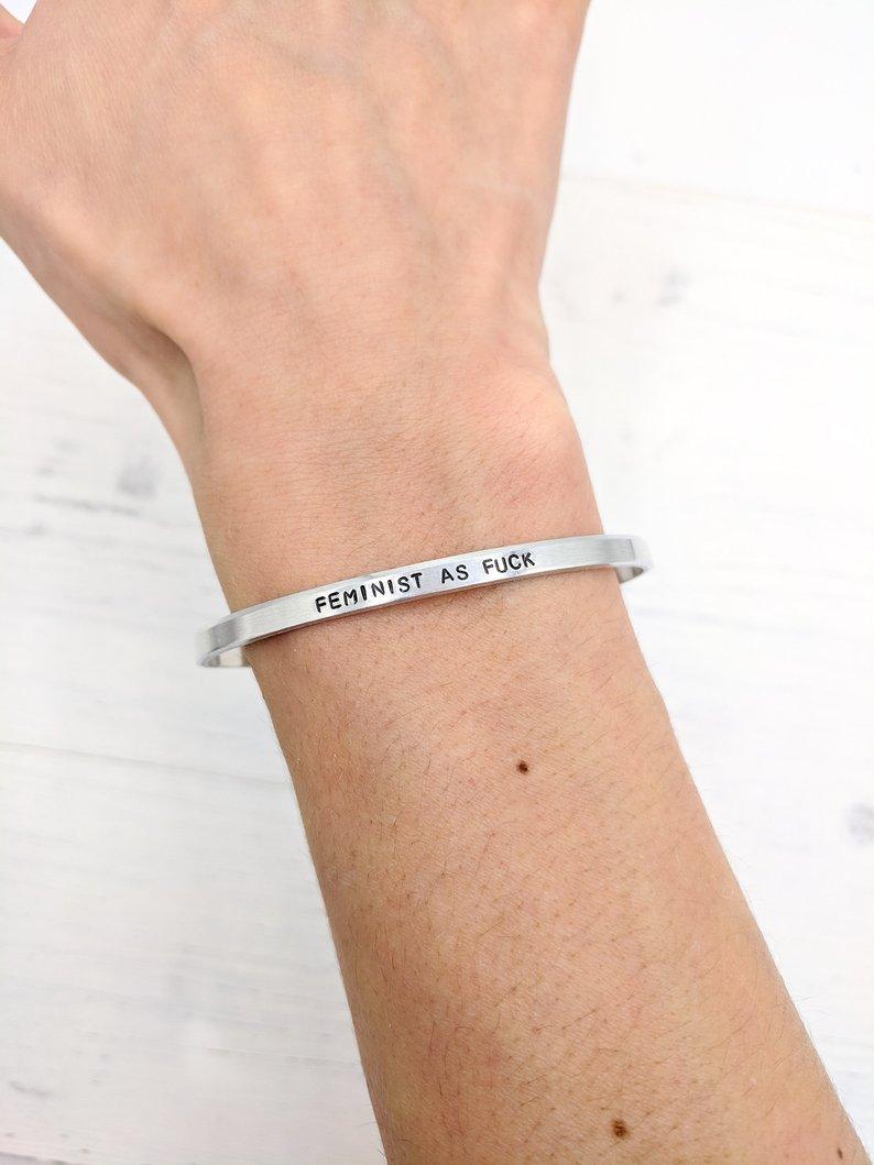 """""""Feminist As Fuck"""" Bracelet by NikkiandNibby"""