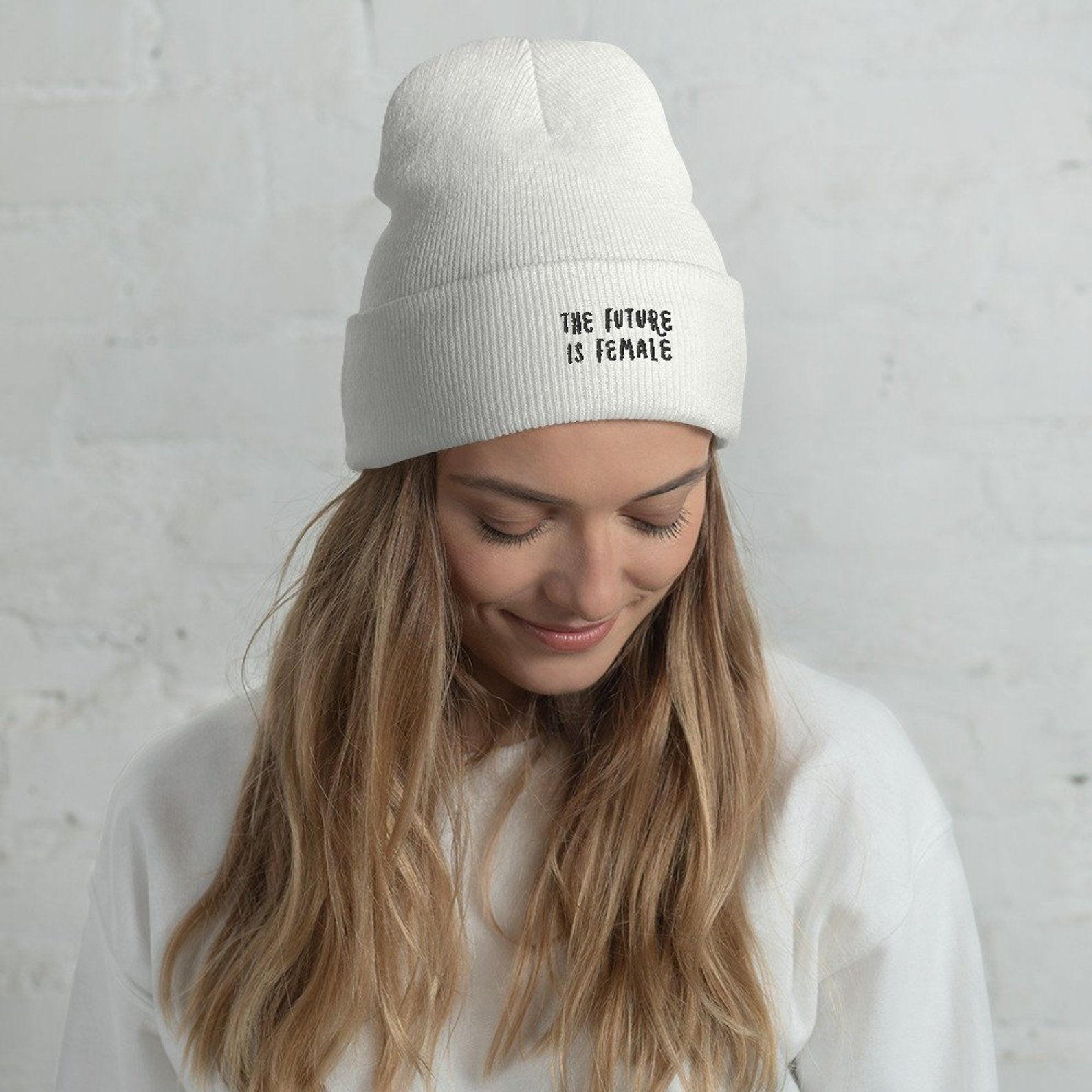 """The Future Is Female"" Embroidered Beanie by FemmeNouvelle"