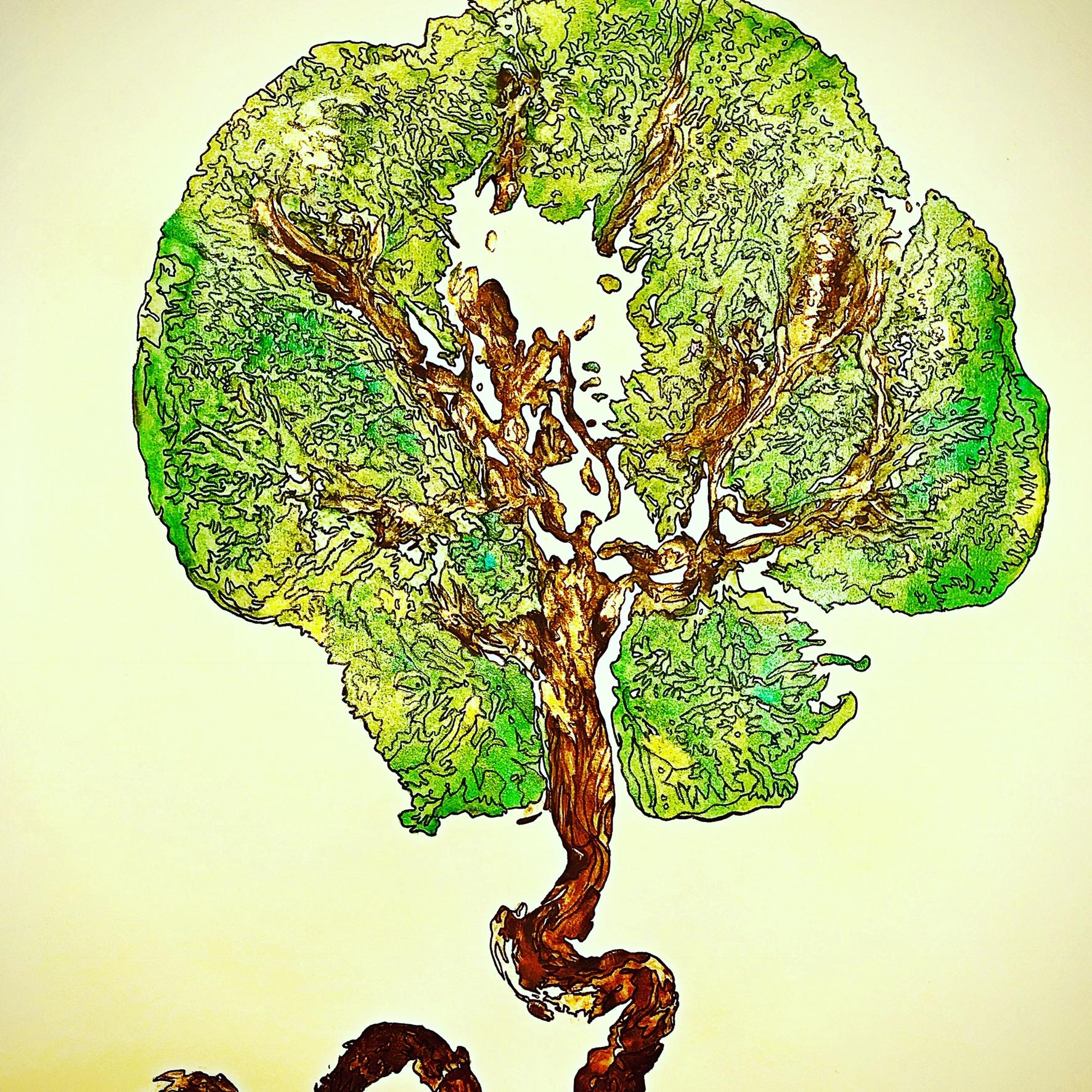 Placenta Print with Custom Line Art