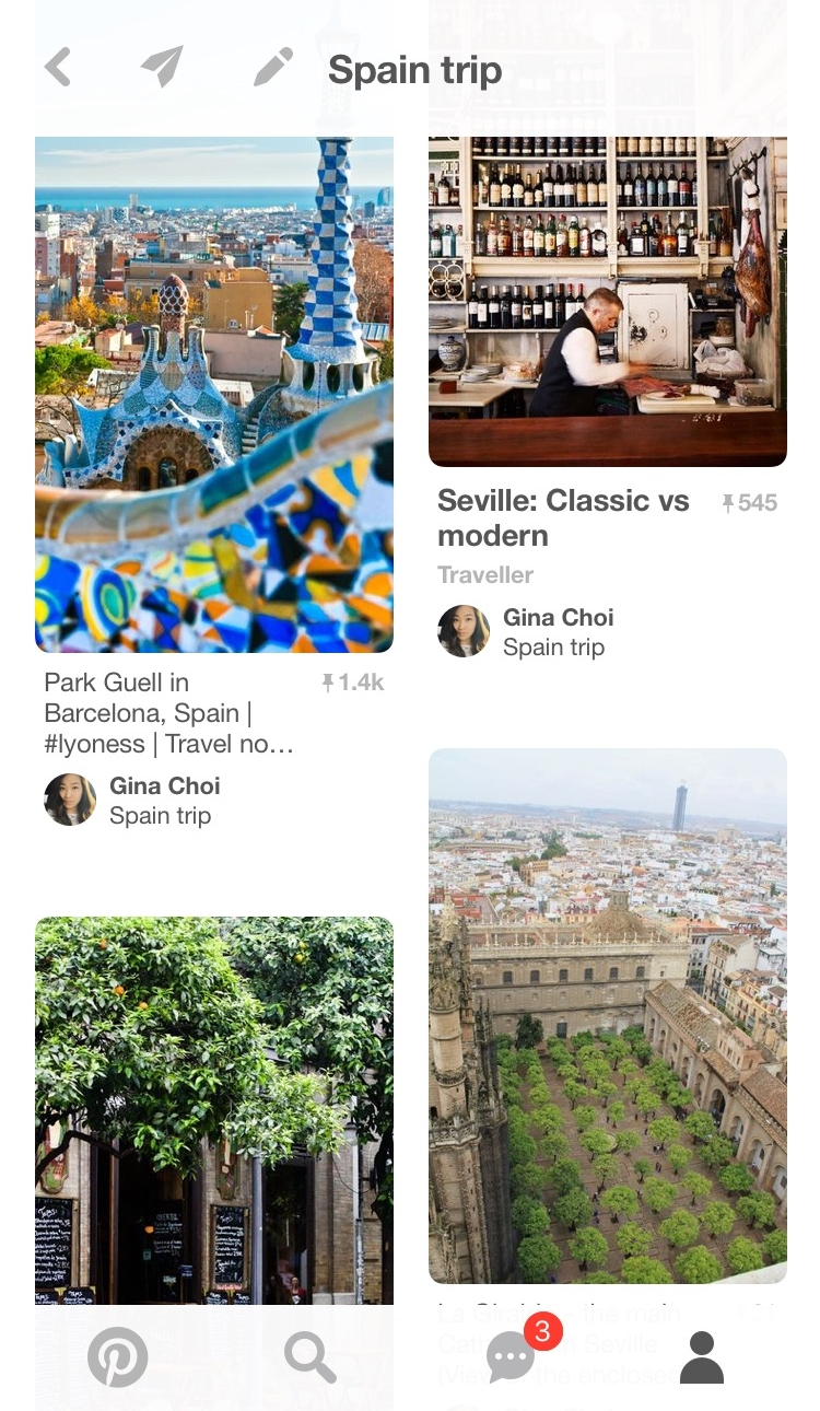 My Spain Pinterest board has become my hobby. It goes everywhere with me and I update it almost daily with new inspiration and suggested posts.
