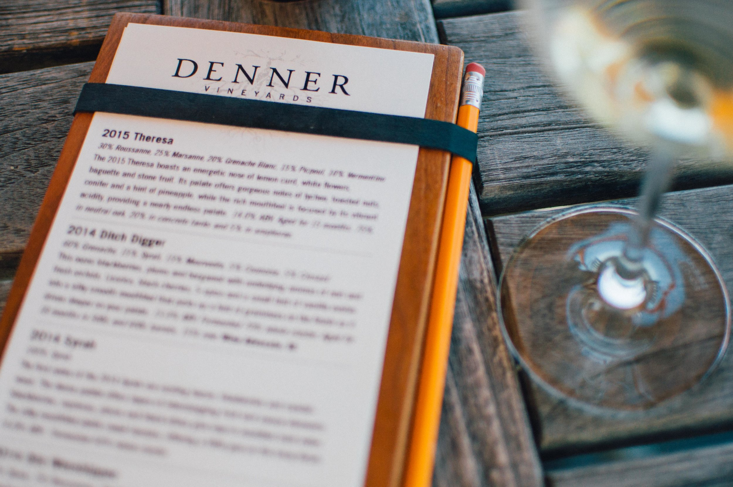 Denner Vineyards is a true retreat. It has one of the most scenic patios in Paso where tastings are served tableside. We enjoyed a quiet Sunday morning with our tasting room staff member, David, who was incredibly helpful with local recommendation.
