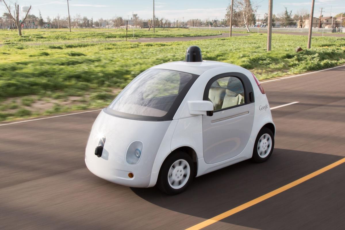 ' Google prototype self-driving car ' by Marc van der Chijs ( CC BY-ND 2.0 ), via Flickr.