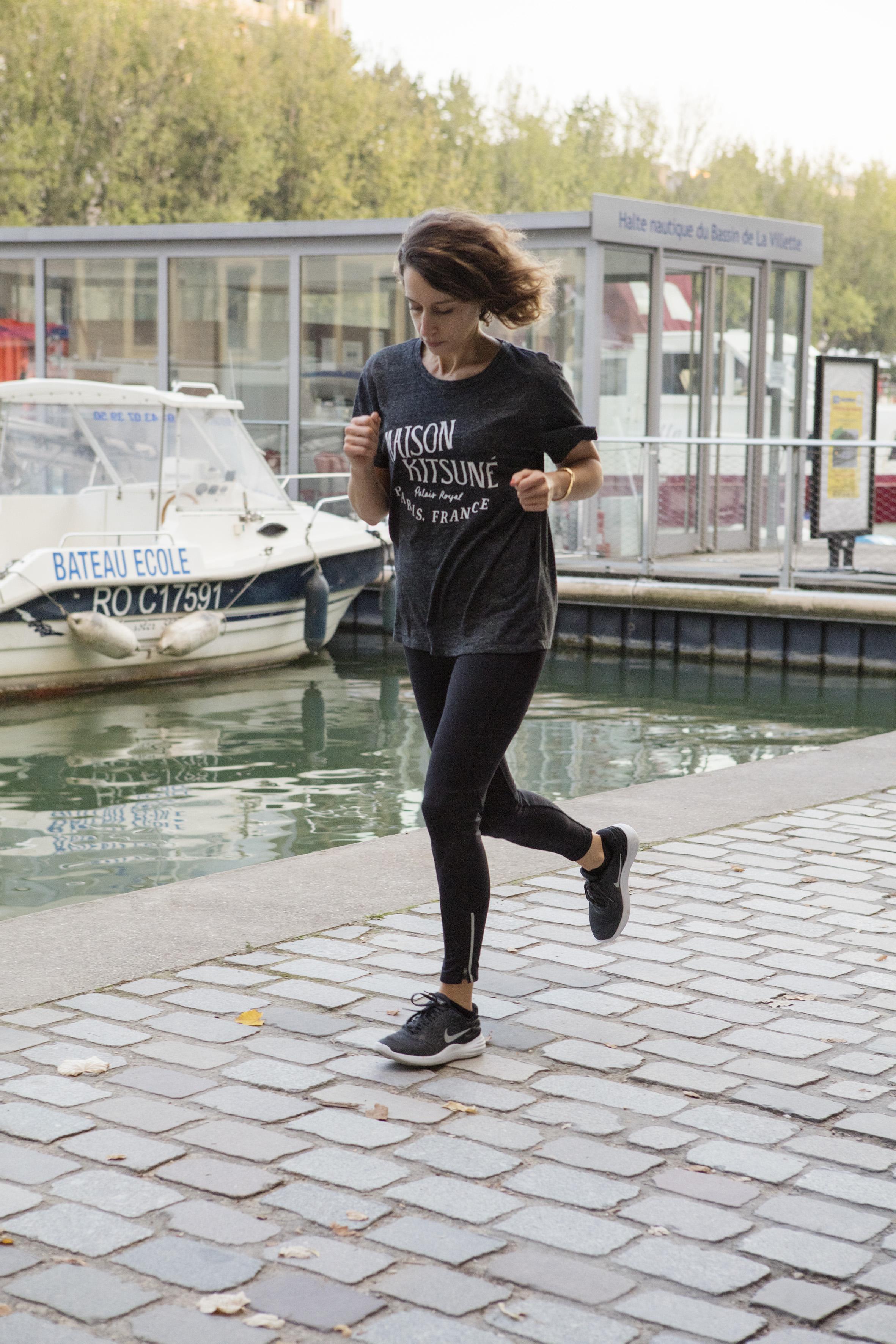 Tee-shirt:Maison Kitsuné.Leggings:Oysho. Running Shoes: Nike. All Images by  Corinne Stoll .