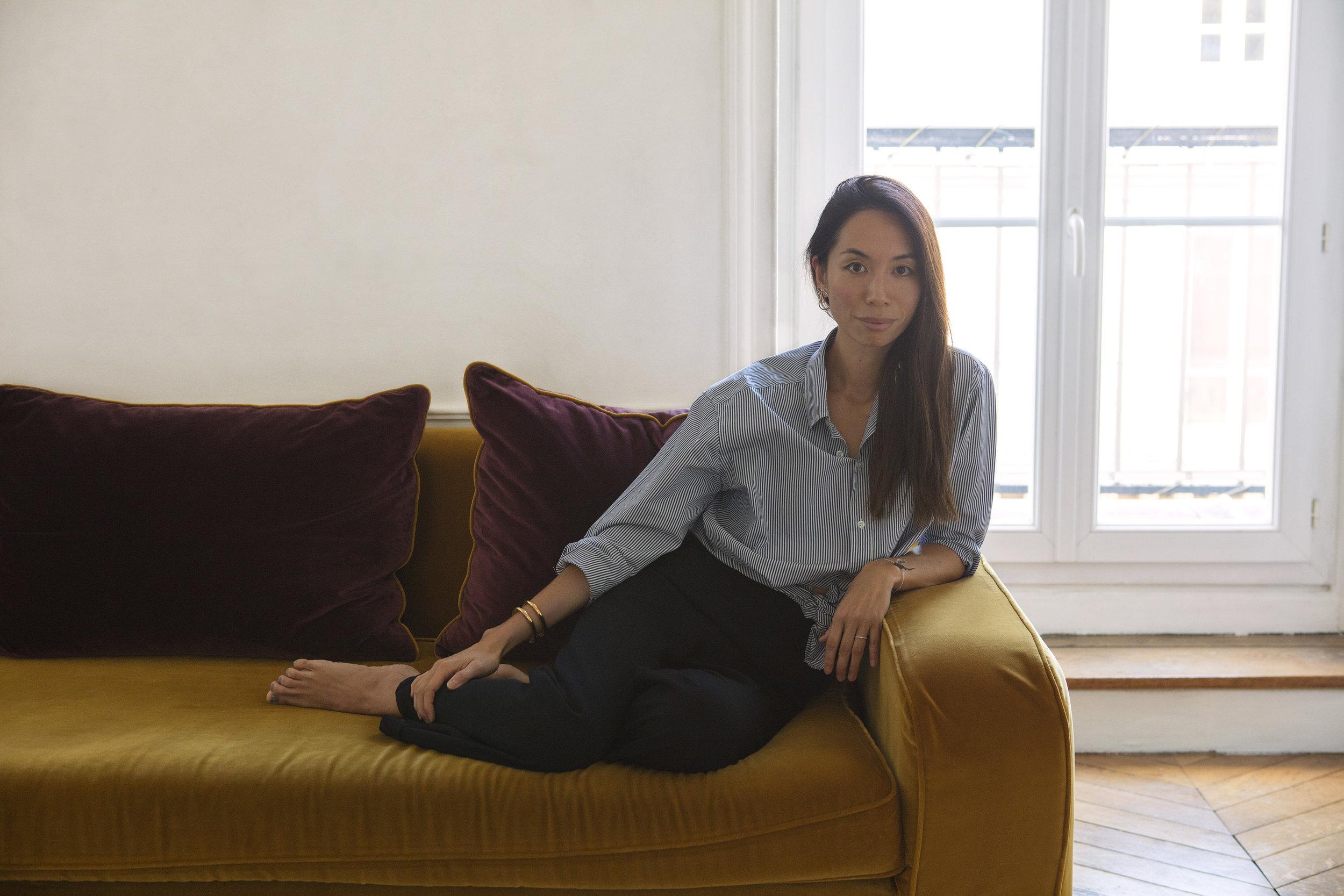 Shirt: Maison Kitsuné. Pants: Margaret Howell. Bracelet: Chloé. Earrings: Charlotte Chesnais.  All images by  Corinne Stoll .