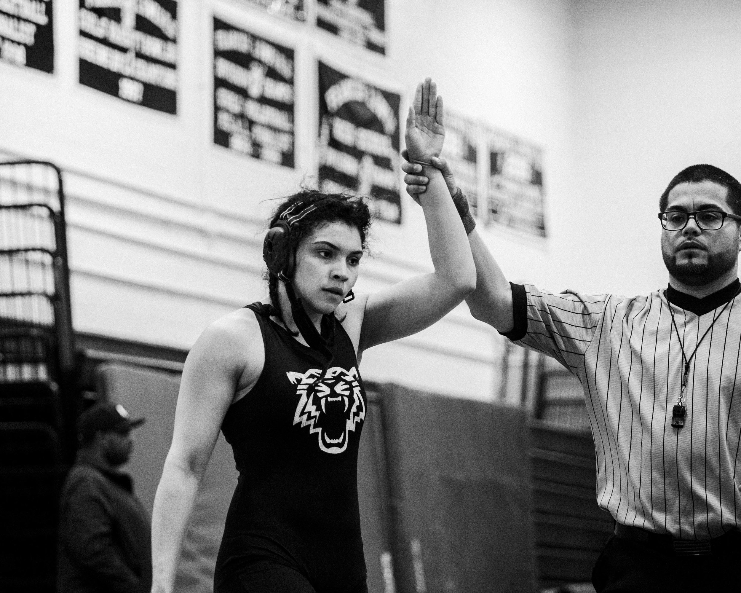 Andreina Rodriguez after winning her match at Francis Lewis Tournament, April 2016. Photographed by Laurel Golio.