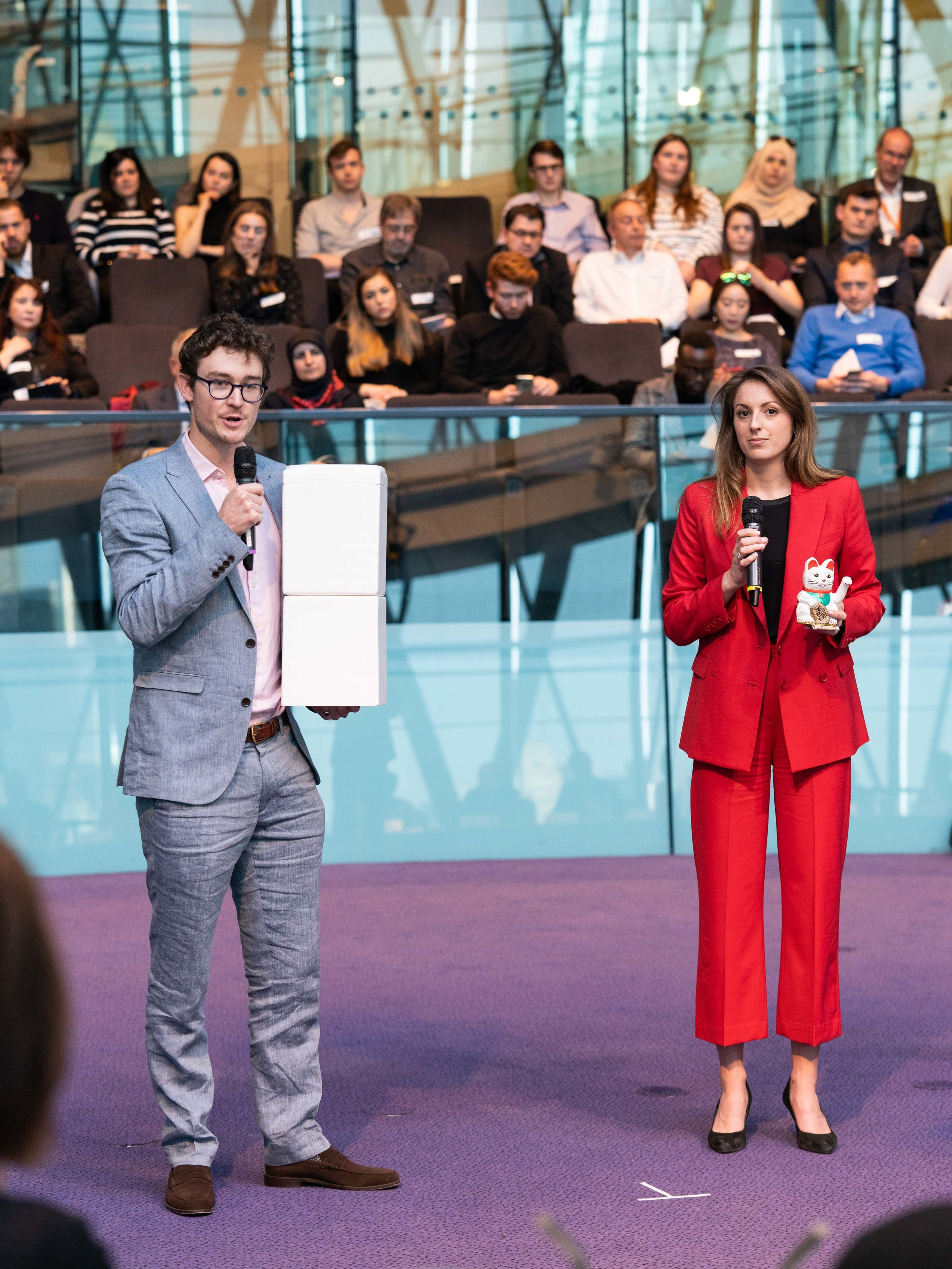 Katie with Charlie (EV Driver & Styroloop) presenting at the 2019 Mayor's Award in London