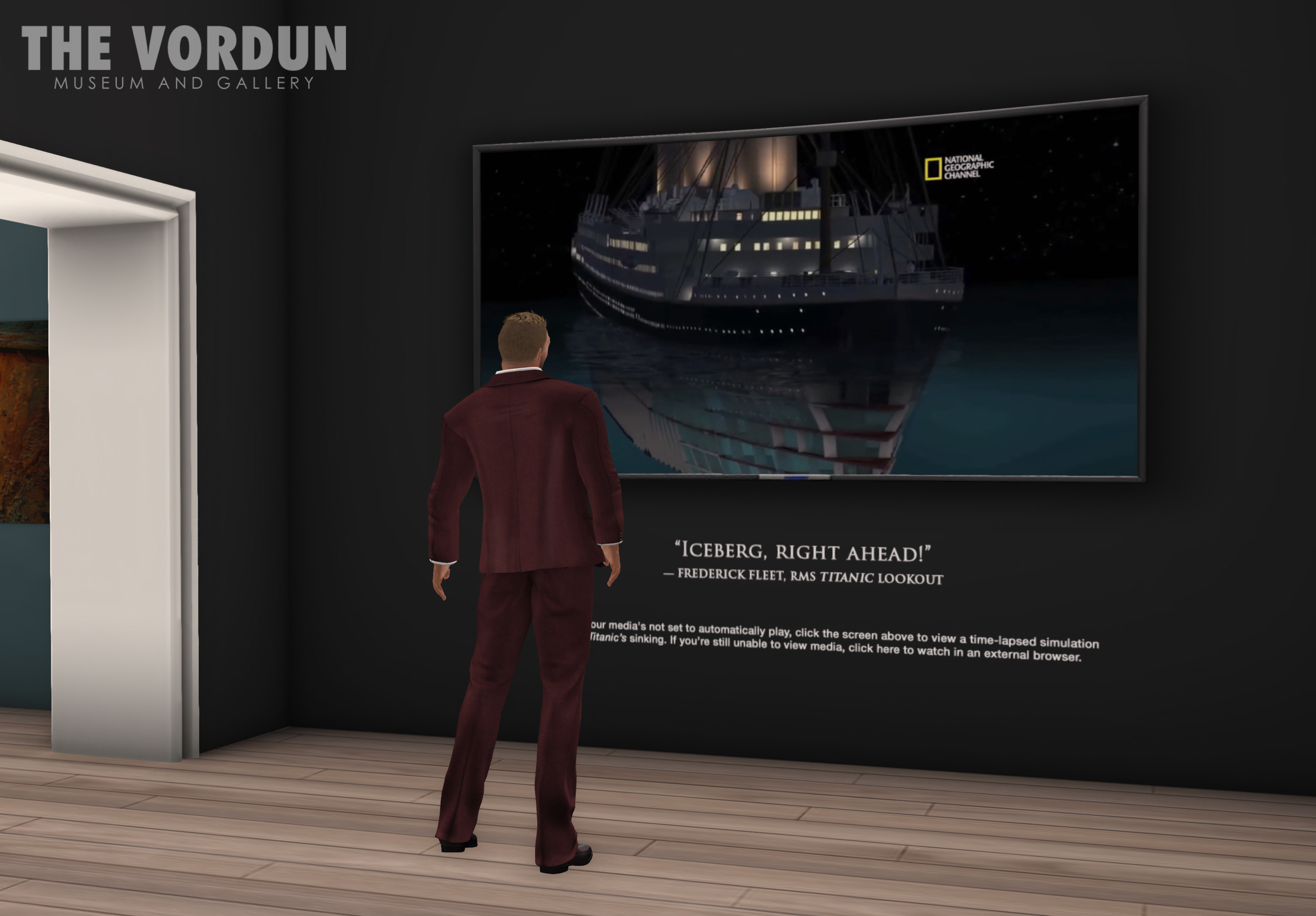 "A museum-goer watches a sped-up simulation of the sinking of the Titanic, in ""A Night to Remember"""