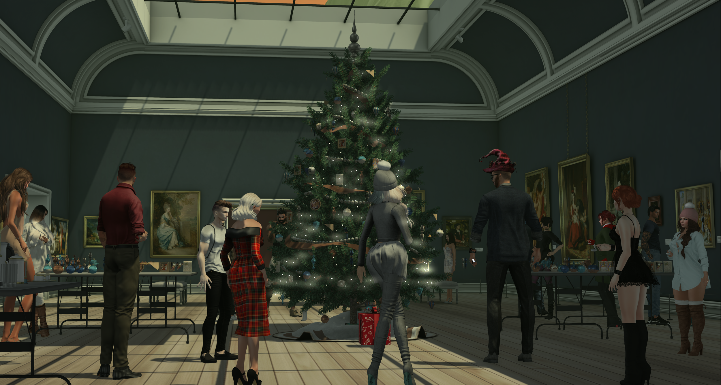 Museum goers help decorate the giant tree, which stands in the middle of The Vordun. Photo courtesy of Anderian Sugarplum.