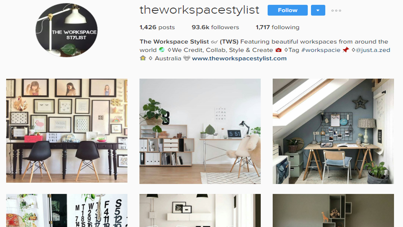 A collection of inspiring images helps to set the scene for the look and feel of your work space. Image courtesy of  The Workspace Stylist .