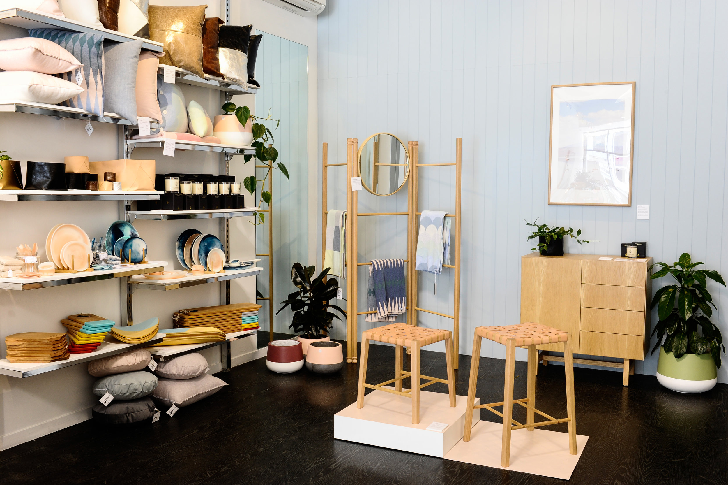 A beautifully curated selection of wares from Melbourne makers on the shelves at The Makers Collective.  Image credit : Haley Kigbo