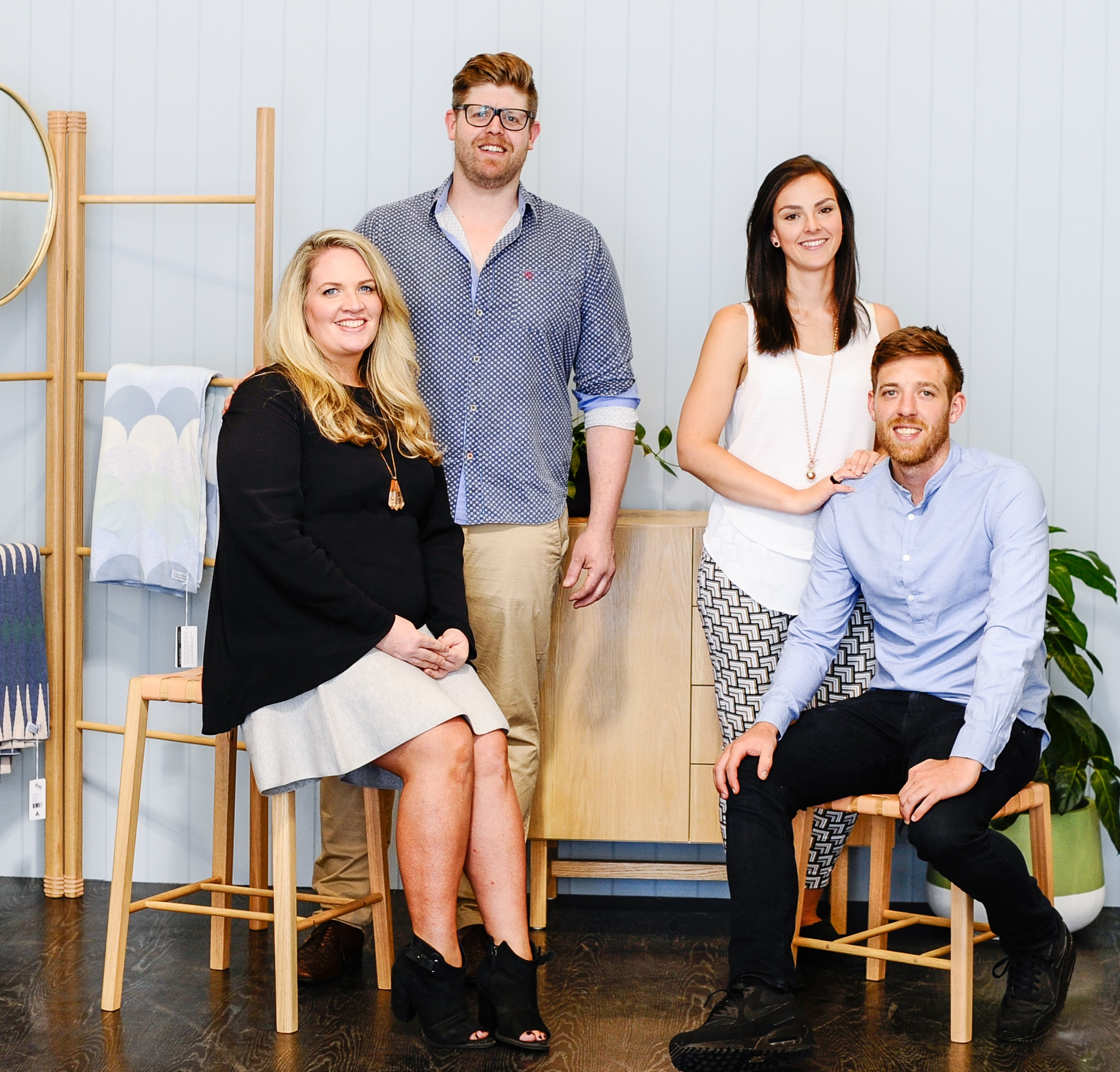 The creative duo's behind the Makers Collective Pop Up : Lucy Grant and Adam Brislin from Beeline Design and Antonia Monongiello and Ian Anderson from Felix Furniture. Image credit : Haley Kigbo