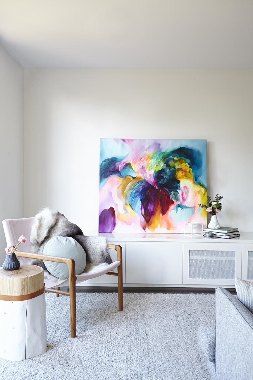 Maitland Street Interiors, Sarah Elshaug, Interior Stylist Melbourne, The Glen Iris Project, Jewels Stevens, Original Artwork, Scandi Living Room