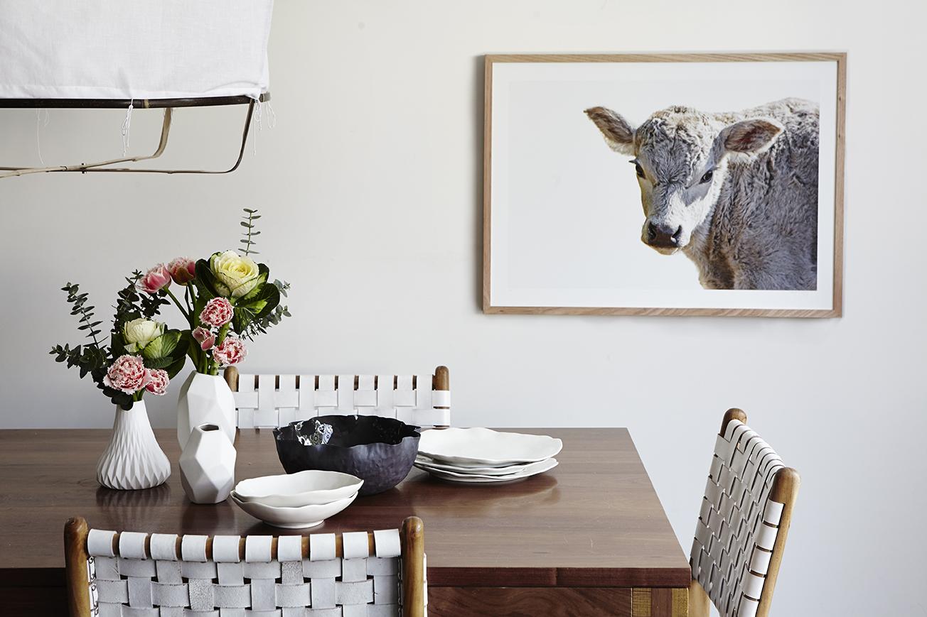 Maitland Street Interiors, Sarah Elshaug, Interior Stylist Melbourne, Scandi Dining Room, Elsie + Hugo, Limited Edition Artwork, Cow Print