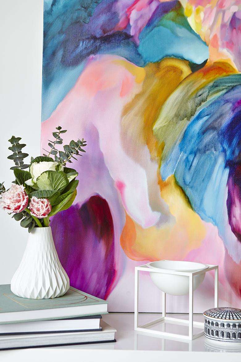 Maitland Street Interiors, Sarah Elshaug, Interior Stylist Melbourne, Scandi Living Room, Shelfie, Jewels Stevens Artist