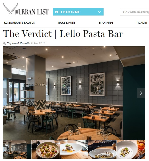 Maitland Street Interiors, Sarah Elshaug, Lello Pasta Bar, Urban List Melbourne, Interior Decorator Melbourne