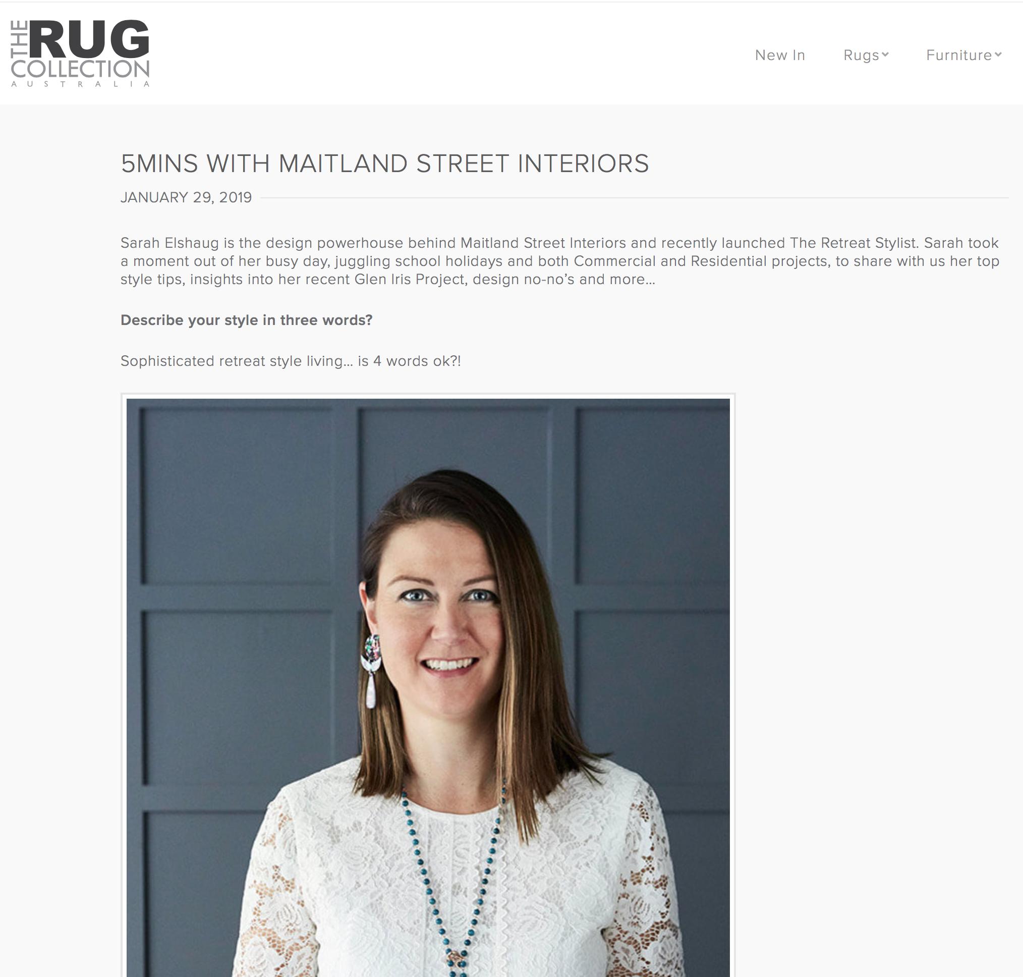 Sarah Elshaug, Maitland Street Interiors, Melbourne Interior Decorator, Interior Stylist